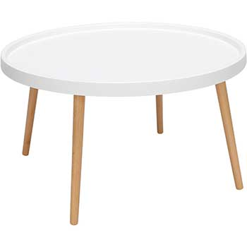 OFM™ 161 Collection Mid Century Modern Coffee Table, Plastic, Solid Wood Legs, White