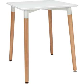 "OFM™ 161 Collection Mid Century Modern Square Dining Table, 24"", Solid Wood Legs, White"