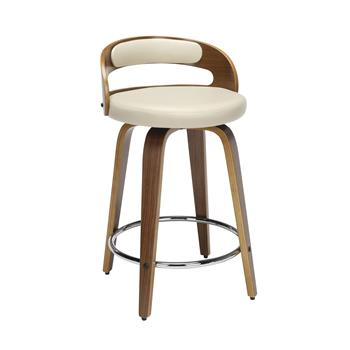 """OFM™ 161 Collection Mid Century Modern Swivel Seat Stool with Vinyl Back and Seat Cushion, Low Back, 24"""" H, Bentwood Frame, Walnut/Ivory"""