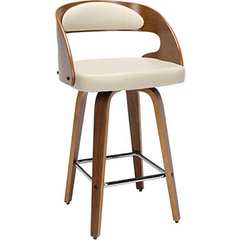 "161 Collection Mid Century Modern Swivel Seat Stool with Vinyl Back and Seat Cushion, 26"" H, Bentwood Frame, Walnut/Ivory"
