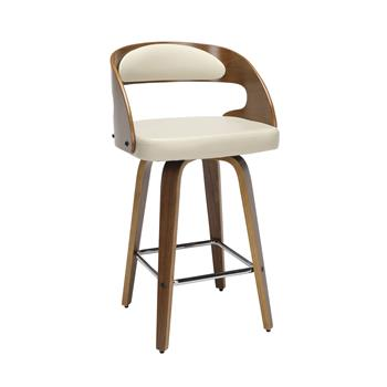 "OFM™ 161 Collection Mid Century Modern Swivel Seat Stool with Vinyl Back and Seat Cushion, 26"" H, Bentwood Frame, Walnut/Ivory"