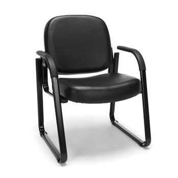 OFM™ Vinyl Guest and Reception Chair with Arms, Black