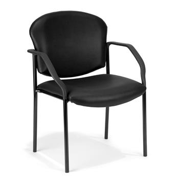 OFM™ Manor Series Guest and Reception Chair with Arms, Black