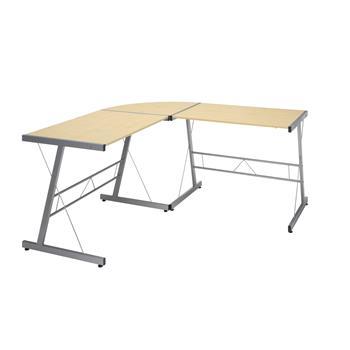 """OFM™ Essentials Collection 60"""" Metal Frame L-Shaped Desk, Maple"""