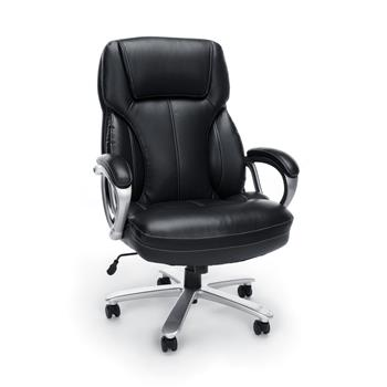 OFM™ Essentials Collection Big and Tall Leather Executive Office Chair with Arms, Black/Silver