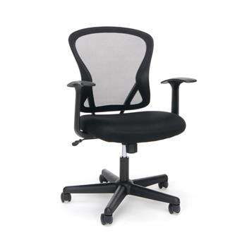 OFM™ Essentials Collection Mid-Back Swivel Task Chair with Arms, Black Mesh