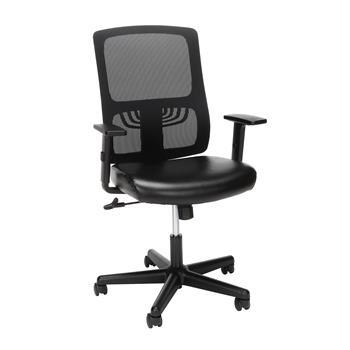 OFM™ Essentials Collection Mid-Back Leather Seat Office Chair with Lumbar Support, Black Mesh