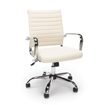 OFM™ Essentials Collection Soft Ribbed Bonded Leather Executive Conference Chair, Ivory