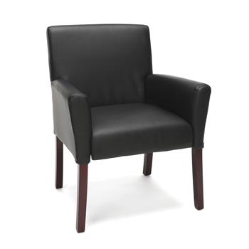 OFM™ Essentials Collection Bonded Leather Executive Guest Chair with Arms and Wooden Legs, Black