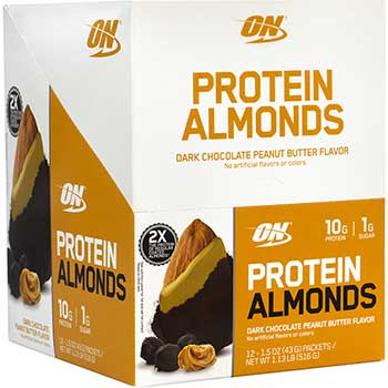 Optimum Nutrition Inc. Protein Almonds, Dark Chocolate Peanut Butter, 1.5 oz., 12/PK