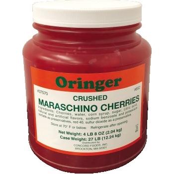 Oringer Maraschino Crushed Cherries, 1/2 Gallon