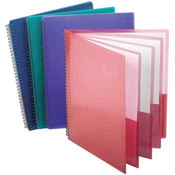 """Esselte® Wire-Binding 8-Pocket Folder; 8.5"""" x 11"""", Assorted Colors; 200 Sheet Capacity"""