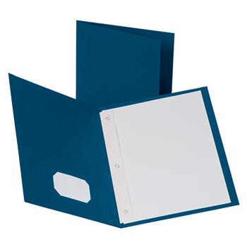 """Oxford™ Twin Pocket Portfolio with Fasteners, 8 1/2"""" x 11"""", Blue, 10/PK"""