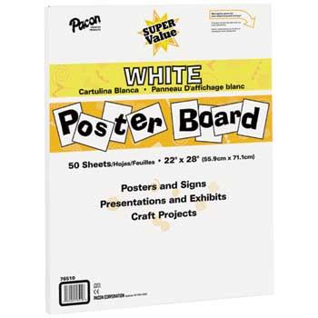 """Pacon® Super Value Poster Board, 22"""" x 28"""", White, 50/PK"""