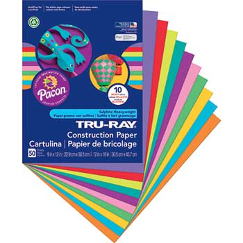 Tru-Ray Construction Paper, 76 lbs., 9 x 12, Bright Assorted, 50 Sheets/Pack