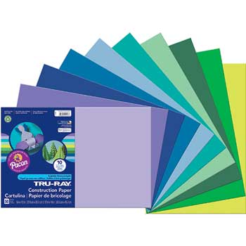 Pacon® Tru-Ray Construction Paper, 76 lbs., 12 x 18, Assorted, 25 Sheets/Pack