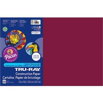 "Pacon® Tru-Ray Construction Paper, 12"" x 18"", Burgundy, 50/PK"