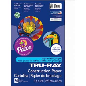 Pacon® Tru-Ray Construction Paper, 76 lbs., 9 x 12, White, 50 Sheets/Pack