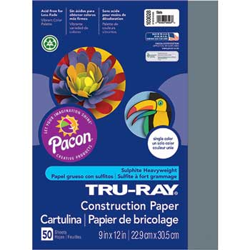 Pacon® Tru-Ray Construction Paper, 76 lbs., 9 x 12, Slate, 50 Sheets/Pack