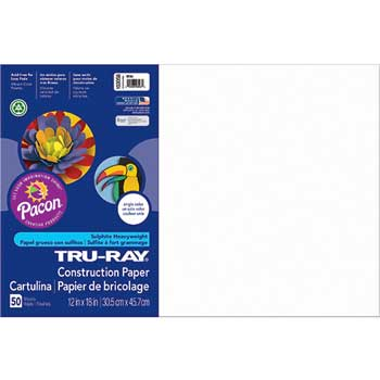 Pacon® Tru-Ray Construction Paper, 76 lbs., 12 x 18, White, 50 Sheets/Pack