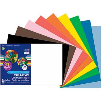 Pacon® Tru-Ray Construction Paper, 76 lbs., 12 x 18, Assorted, 50 Sheets/Pack