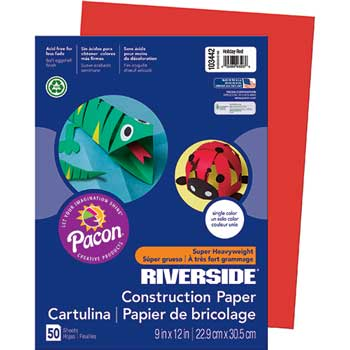 Pacon® Riverside Construction Paper, 76 lbs., 9 x 12, Holiday Red, 50 Sheets/Pack