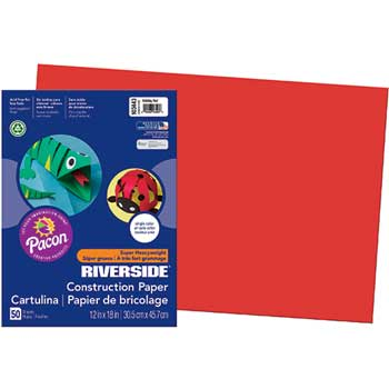 Pacon® Riverside Construction Paper, 76 lbs., 12 x 18, Holiday Red, 50 Sheets/Pack