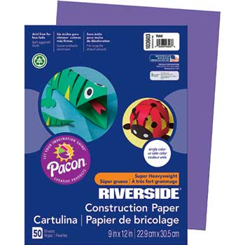 Pacon® Riverside Construction Paper, 76 lbs., 9 x 12, Violet, 50 Sheets/Pack