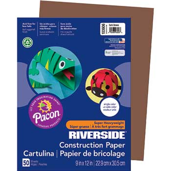 Pacon® Riverside Construction Paper, 76 lbs., 9 x 12, Dark Brown, 50 Sheets/Pack
