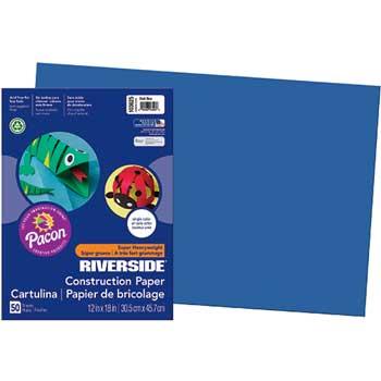 Pacon® Riverside Construction Paper, 76 lbs., 12 x 18, Dark Blue, 50 Sheets/Pack