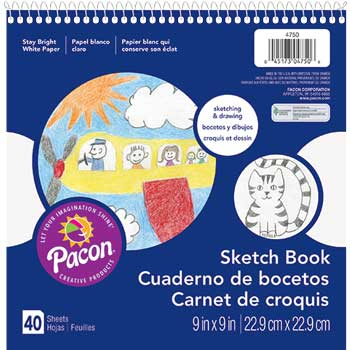 """Pacon® Sketch Book, 9"""" x 9"""", 40 Sheets"""