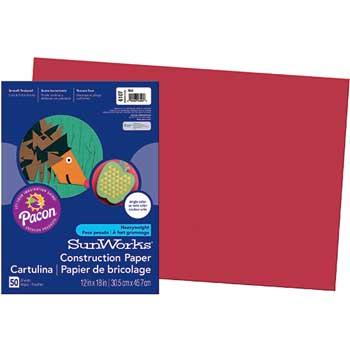 Pacon® Vibrant Art Construction Paper, 12 x 18, Red, 50/PK