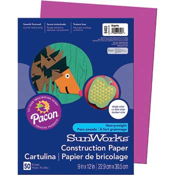 Construction Paper, 58 lbs., 9 x 12, Magenta, 50 Sheets/Pack