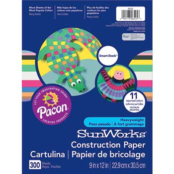 SunWorks® Construction Paper Smart-Stack, 58 lbs., 9 x 12, Assorted, 300 Sheets/Pack