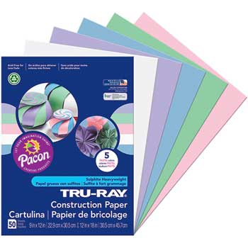 """Pacon® Tru-Ray Sulphite Construction Paper, 9"""" x 12"""", Pastel Colors, 50 Sheets/Pack"""