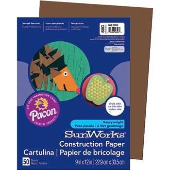 SunWorks® Construction Paper, 58 lbs., 9 x 12, Dark Brown, 50 Sheets/Pack