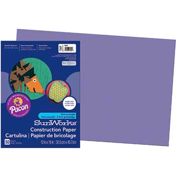 Construction Paper, 58 lbs., 12 x 18, Violet, 50 Sheets/Pack