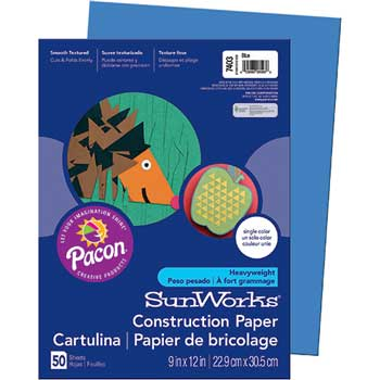 Construction Paper, 58 lbs., 9 x 12, Blue, 50 Sheets/Pack