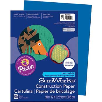 SunWorks® Construction Paper, 58 lbs., 9 x 12, Bright Blue, 50 Sheets/Pack