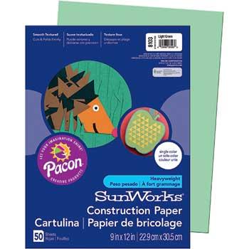 SunWorks® Construction Paper, 58 lbs., 9 x 12, Light Green, 50 Sheets/Pack