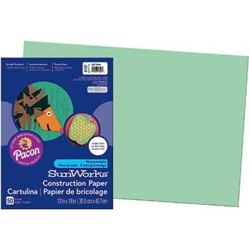 Construction Paper, 58 lbs., 12 x 18, Light Green, 50 Sheets/Pack