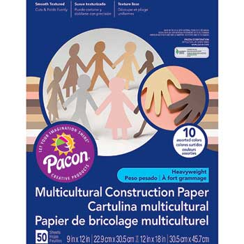 Multicultural Construction Paper, 76 lbs., 9 x 12, Assorted, 50 Sheets/Pack