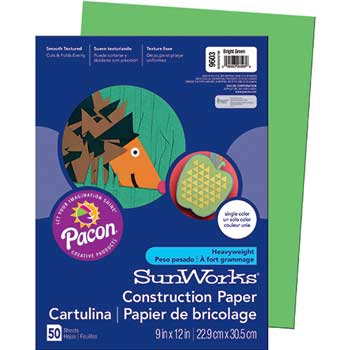 SunWorks® Construction Paper, 58 lbs., 9 x 12, Bright Green, 50 Sheets/Pack