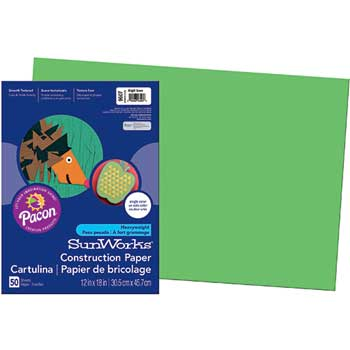 SunWorks® Construction Paper, 58 lbs., 12 x 18, Bright Green, 50 Sheets/Pack
