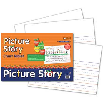"""Pacon® Picture Story Chart Tablet & Pad, 24"""" x 16"""", 1 1/2"""" Ruling, 25 Sheets"""