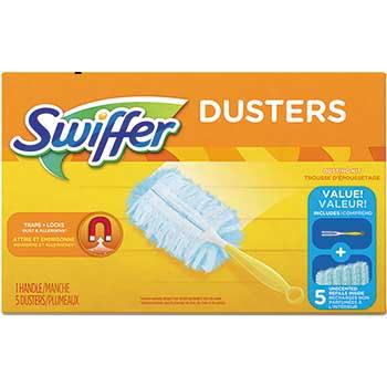"Dusters Starter Kit, Dust Lock Fiber, 6"" Handle, Blue/Yellow"