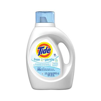 Tide® Free & Gentle Liquid Laundry Detergent, 92 oz. Bottle, 64 Loads, 4/Carton