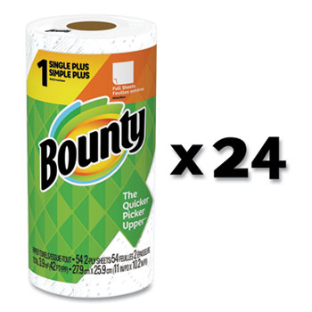 Bounty® Paper Towels, 2-Ply, White, 54 Sheets/Roll, 24 Rolls/Carton