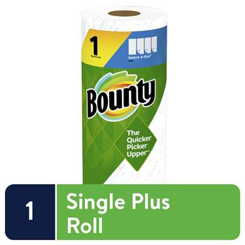 Bounty® Select-A-Size Paper Towels, Single Plus Roll, White, 74 Sheets/Roll