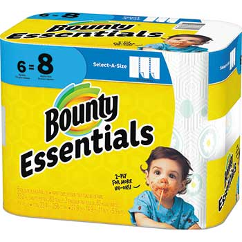 Essentials Select-a-Size Paper Towels, 5 9/10 x 11, 1-Ply, 83/Roll, 6 Rolls/Carton